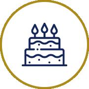Icône d'un gâteau avec bougies